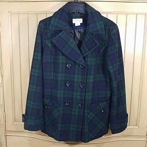 St. John's Bay Plaid Pea Coat, sz XL